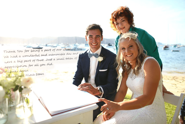 Mitchell Starc and Alyssa Healy - Celebrant Christine Beasley